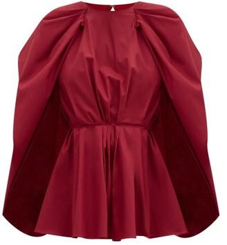Roksanda Atticus Cape-sleeve Peplum Cotton-poplin Blouse - Red