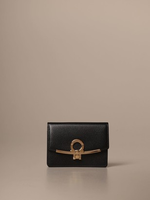 Salvatore Ferragamo Wallet Gancini Business Card Holder In Leather
