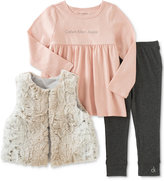 Calvin Klein Baby Girls' 3-Pc. Faux-Fur Vest, Tunic & Leggings Set