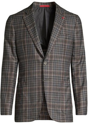 Isaia Soft Delain Slim-Fit Plaid Blazer