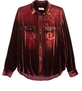 Saint Laurent Oversize Velvet Long Sleeve Shirt