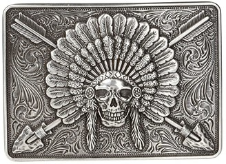 Ariat Rectangle Chief Skull Buckle (Antique Silver) Men's Belts