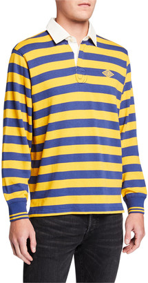 Ovadia & Sons Men's Monogram Rugby Striped Long-Sleeve Polo Shirt