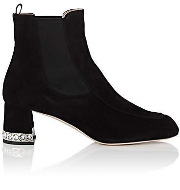 Miu Miu Women's Crystal-Inset Suede Chelsea Boots - Nero