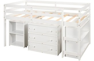 Harriet Bee Doerrman Study Twin Low Loft Bed with Desk, Bookcase, and 3 Drawers Bed Frame Color: White
