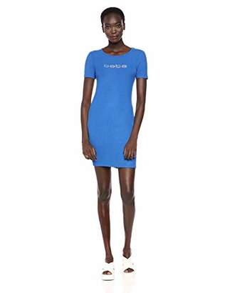 Bebe Women's Short Sleeve Crew Neckline Dress with a V Back