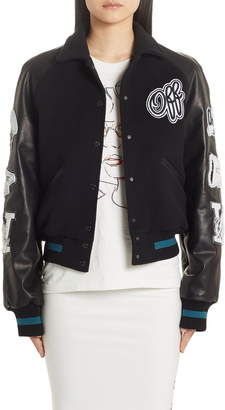 Off-White Vintage College Varsity Bomber Jacket