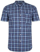 Topman Teal Checked Muscle Fit Shirt
