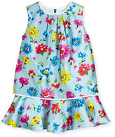 Oscar de la Renta Sleeveless Scattered Flower Mikado Flounce Dress, Multicolor, Size 4-14