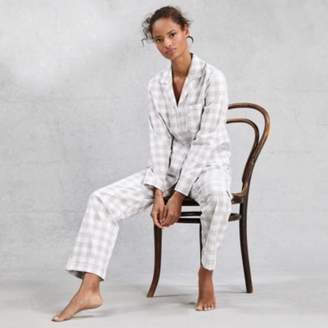 The White Company Brushed Cotton-Gingham Lurex Pyjama Set, Grey White, Extra Small