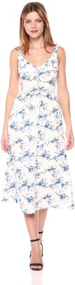 J.o.a. Women's Flower Print Maxi Dress W/Ribbon Trap Detail