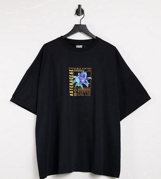Reclaimed Vintage Inspired flower print t-shirt in black