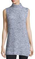 Alexander Wang Sleeveless Marled Chunky Cotton-Blend Sweater, Black/White