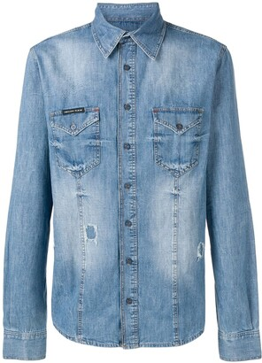 Philipp Plein distressed denim shirt