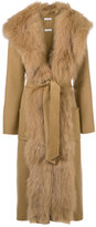 P.A.R.O.S.H. hooded robe coat with fur trim