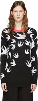 McQ by Alexander McQueen Black Jacquard Swallows Pullover
