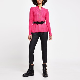 River Island Womens Pink cable knit peplum cardigan