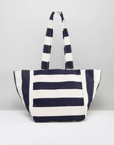 Missguided Striped Oversized Beach Bag
