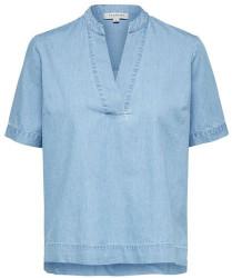 Selected Chambray Denim Joy Short Sleeve Top - 34