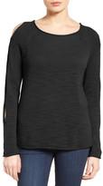 Caslon Open Sleeve Cotton Pullover (Petite)