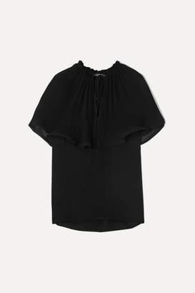 Stella McCartney Plisse-georgette And Silk-crepe Blouse - Black