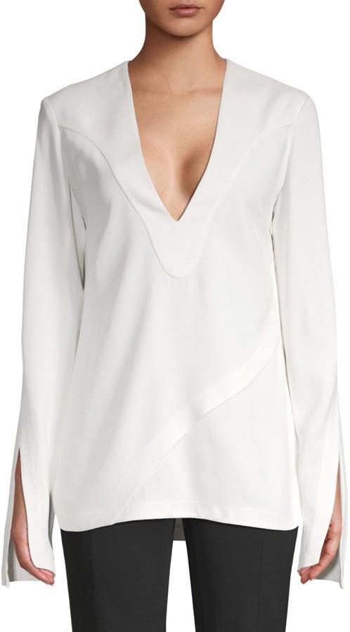 Derek Lam Long-Sleeve V-Neck Top