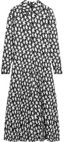 Saint Laurent Printed Crepe Midi Dress - Black