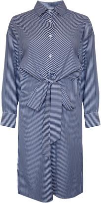 Jovonna London Blue Hulline Stripe Long Sleeve Shirt Dress - small