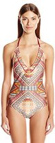 Jessica Simpson Women's Day Tripper Lace Tie Back Maillot One Piece Swimsuit