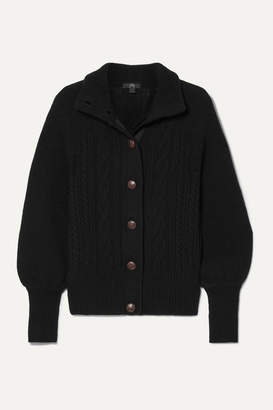 J.Crew Cable-knit Wool-blend Cardigan - Black