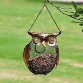 Evergreen Owl, Metal and Glass Bird Feeder