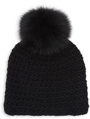 Surell Fox Fur Pom-Pom Hat