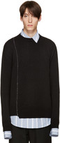 Raf Simons Black Wool Stitched Sweater