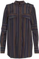 Belstaff Paneled Striped Silk Shirt