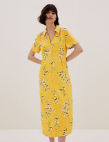 Thumbnail for your product : Marks and Spencer Floral Collared Midi Shirt Dress with Linen