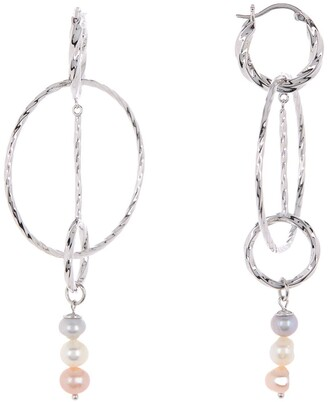 Carolee Jane Sterling Silver Multi-Color Freshwater Pearl Multi-Hoop Earrings