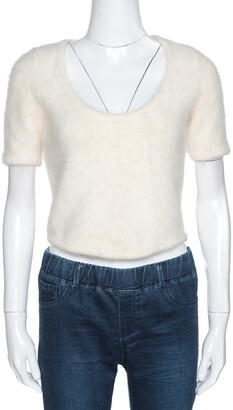 Christian Dior Cream Angora and Alpaca Wool Blend Fuzzy Crop Top L