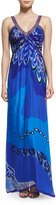 Badgley Mischka Printed Sleeveless V-Neck Gown, Blue/Multi