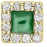 Alison Lou Women's 14 ct Yellow Gold Diamonds and Green Enamel Square Single Stud Earring