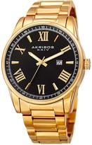 Akribos XXIV Men's Roman Numeral Date Stainless Steel Bracelet Watch