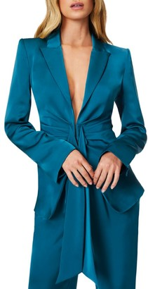 Ramy Brook Ronny Gathered Waist Satin Blazer