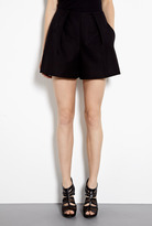 Carven Black Cotton Twill High Waisted Shorts