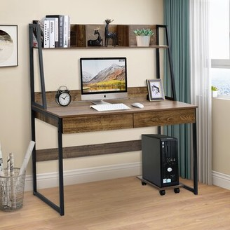 17 Stories Home Office Computer Desk With Hutch/ Bookshelf, Desk With Space Saving Design Color: Brown
