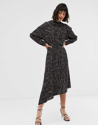 And other stories & high neck asymetric hem dress in confetti print-Multi