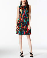 Ellen Tracy Pleated Multicolor Fit and Flare Dress