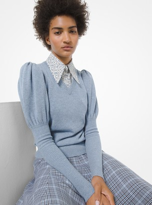 Michael Kors Collection Cashmere Puff-Sleeve Sweater