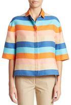 Akris Punto Striped Silk-Blend Top