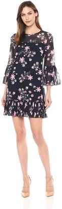 Eliza J Women's Bell Sleeve Dress with Pleated Hem