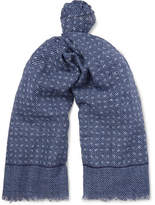Isaia Fringed Printed Cotton And Linen-Blend Scarf