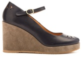 A.P.C. Cut-out leather and suede wedge pumps